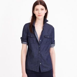 J.Crew Keeper Chambray Shirt In Dark Rinse